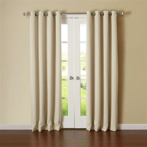 new window treatment beige panels grommet top thermal