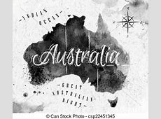 Ink australia map in vector format black and white