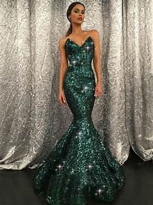 Dark Green Prom Dress Mermaid Sparkly Modest Long Prom ...
