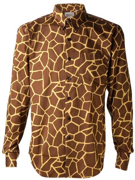 lyst naked famous giraffe print shirt  brown  men