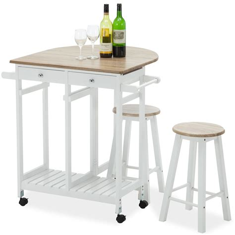 kitchen island tables with stools oak kitchen island cart trolley storage dining table 2 bar