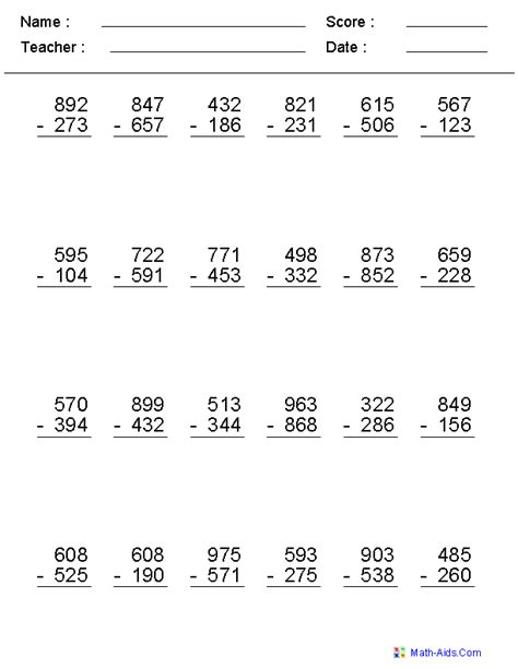 3rd grade math worksheet 3 digit subtraction subtraction worksheets dynamically created subtraction