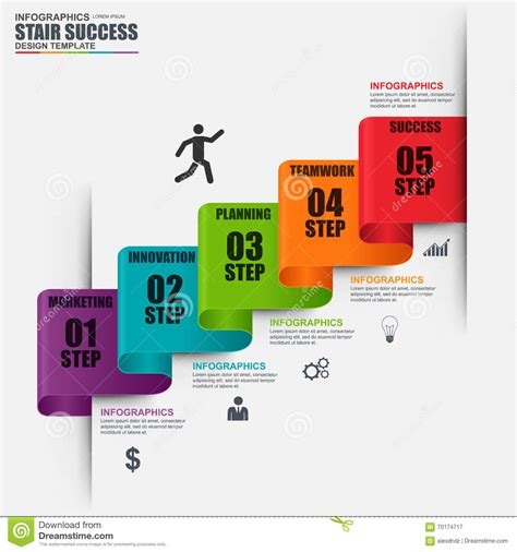 infographic staircase step vector design template stock
