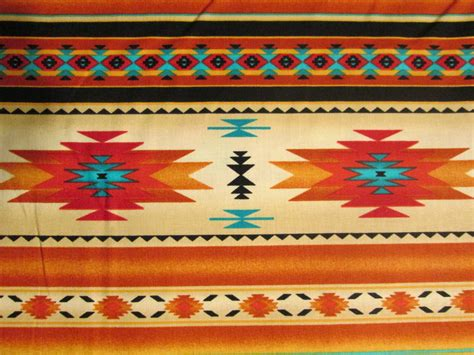 Native American Traditional Navajo Gold Teal Border Cotton Fat Quarter or Custom Listing
