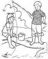 Coloring Fishing Popular sketch template