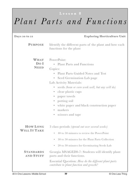 8 08 plant parts and functions lesson plan one