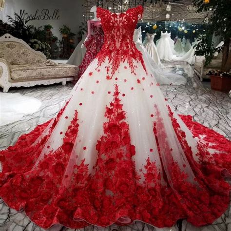 Modabelle Romantic Red Lace Flower Wedding Dress With