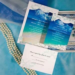 Fantastic beach themed wedding invitations iwi001 for All in one beach wedding invitations