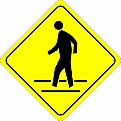 Pedestrian Sign Clipart Caution Clip Crosswalk Traffic