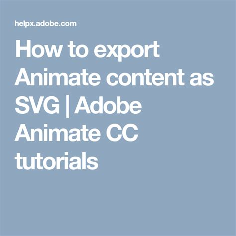 Svg animation is a great alternative to using animated gifs on the web, but it's not always easy. How to export Animate content as SVG   Adobe Animate CC ...