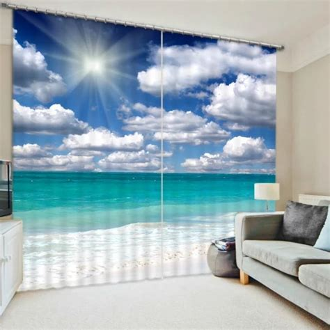 sea beach design blackout  curtains  bedding room