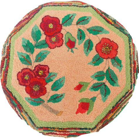 Vintage Hooked Chair Pads by Vintage Made Folk Floral Design Hooked Rug Chair