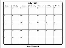 July 2018 Calendar With Name – 2018 Calendar Template