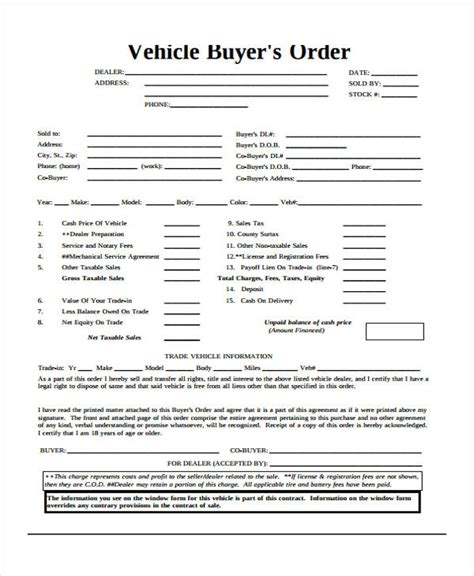 vehicle buyers order form buyers order template understanding the background of