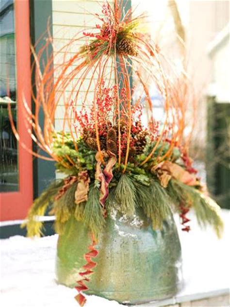 outdoor holiday decorating  natural materials