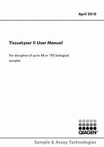 Tissuelyser Ii User Manual April 2010 Pdf Download