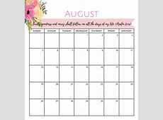 Calendar August 2018 Quotes King Free Printable Blank