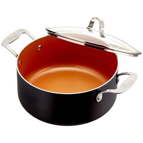gotham steel  qt  stick ti ceramic stock pot  glass lid   home depot
