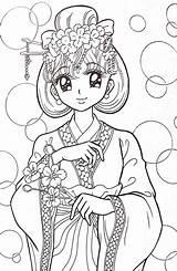 Coloring Anime Manga Adult Adults Coloriage Kimono Dessin Sheet Colorir Desenhos Sheets Colorier Markers Kawaii Pen Gel Watercolor Disegni Colorare sketch template