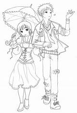 Coloring Anime Pages Couples Couple Cute Emo Drawings Printable Print Template Chibi Furuba Boy Drawing Boys Child Manga Adult Books sketch template