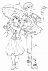 Anime Couples Coloring Pages Couple Boys Chibi Drawings Template Furuba Child Raining Drawing Printable Books Boy Adult Manga Sheets Cartoon sketch template