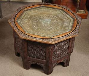 carved wood indian side table with glass top at 1stdibs With indian carved coffee table