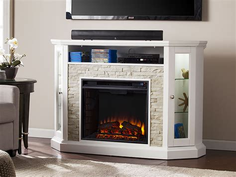 Redden White Convertible Fireplace Media Cabinet