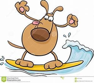 Surfing Dog Cartoon Illustration Stock Vector - Image ...