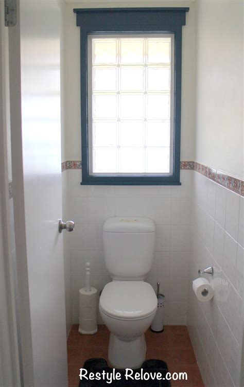 toilet  bathroom restyled  terracotta  blue