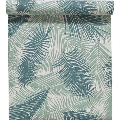 papier peint intiss 233 feuille de palme vert leroy merlin