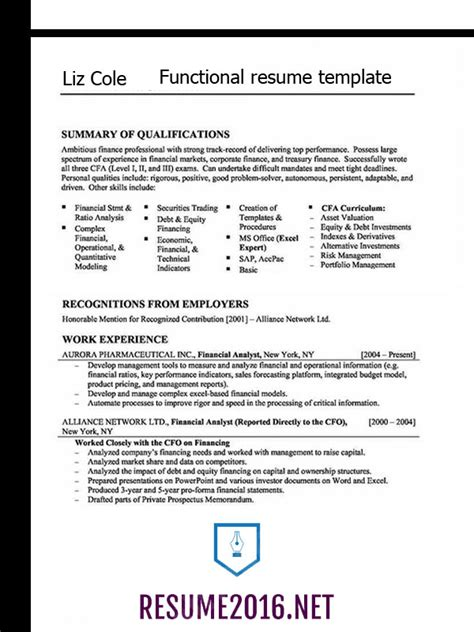 Functional Resume by Pin Functional Resume Format Focusing On Skills And