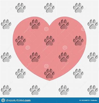 Paw Heart Dog Pattern Prints Endless Gray