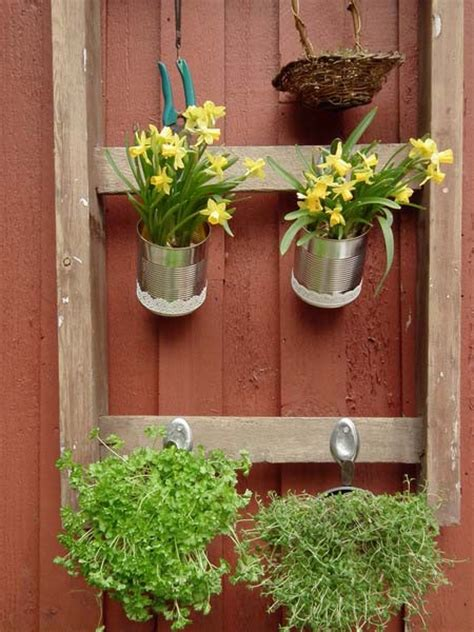 Outdoor Garden Decorations Made Old Wooden Ladders
