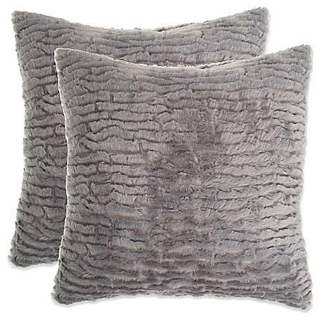 gray fur pillow buy waterfall faux fur pillow in grey set of 2 from bed