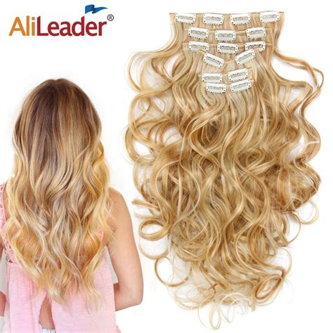 Alileader 22synthetic Ombre Curly Hair 16 Clips In Hair