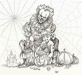 Coloring Adult Halloween Scary Pennywise Dibujos Adults Georgie Random Horror Detailed Payasitos Printable Colouring Coloriage Sheets Colorear Payaso Imprimer Listia sketch template