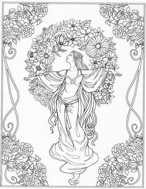 Beautiful lady amongst flowers coloring page   Beautiful