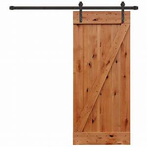 pacific entries 36 in x 84 in rustic unfinished plank With 18 inch barn door