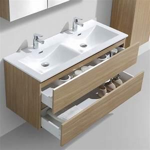 Meuble Double Vasque Design : meuble salle de bain design double vasque siena largeur 120 cm ch ne clair en 2019 salle de ~ Mglfilm.com Idées de Décoration