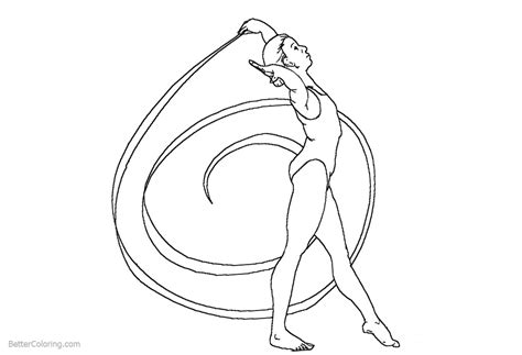 Rhythmic Ribbon From Gymnastics Coloring Pages