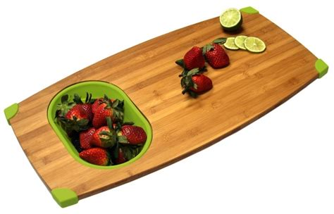 Bamboo Over Sink Cutting Board And Colander