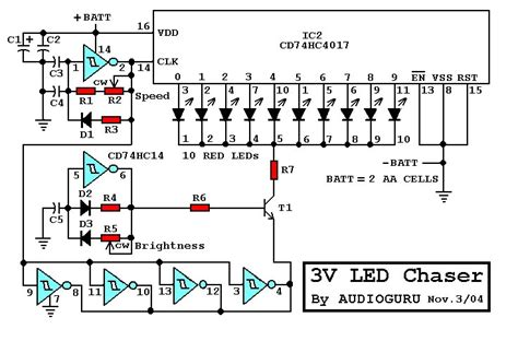 3v led chaser electronics lab