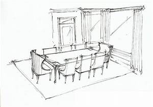 Dining Room Perspective sketch | Interior Sketches: Floor ...