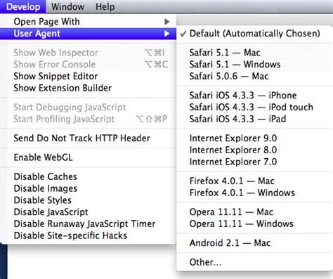 user agent safari menu switcher adding another bums imac thing