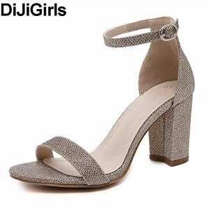 dijigirls 2017 new women summer square thick high heel With black dress sandals for wedding