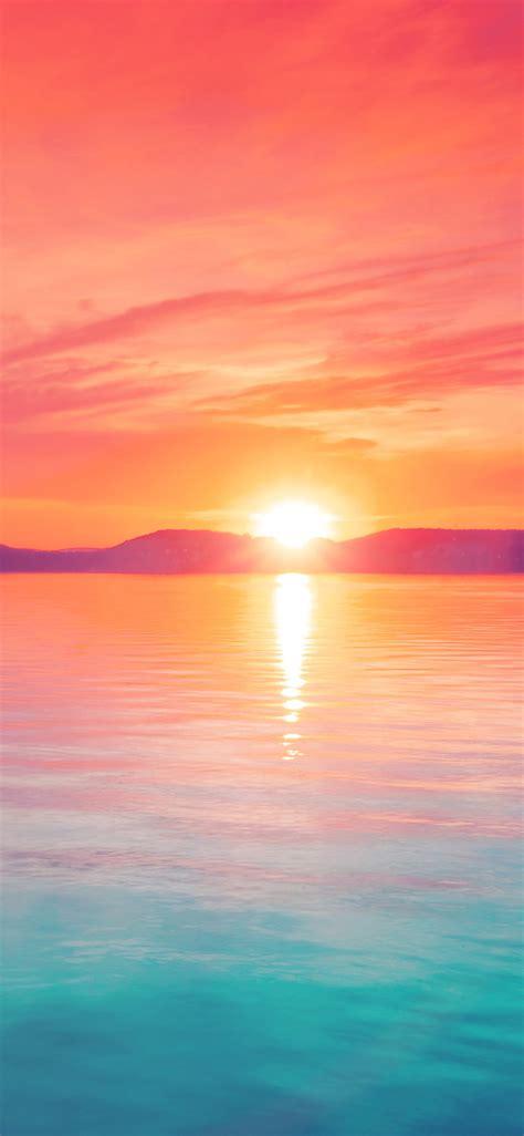 mq sunset night lake water sky red flare papersco