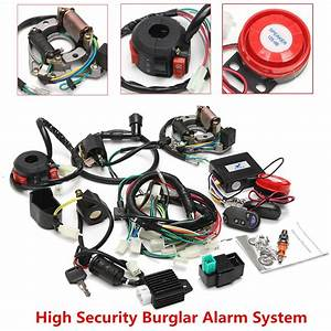 Alarm System Full Electrics Wiring Harness Cdi 0cc 70cc 110cc 125cc Atv Remote Start Switch High