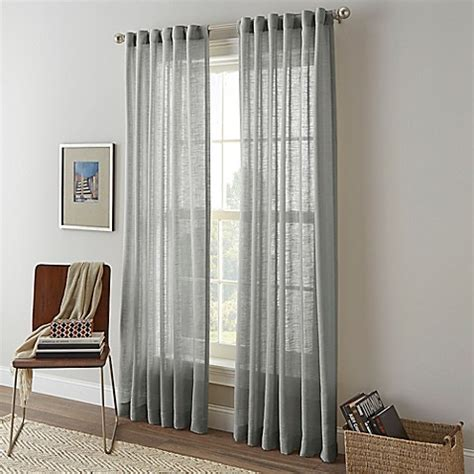 sheer curtains bed bath and beyond shimmer sheer rod pocket window curtain panel bed bath