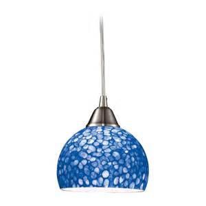 modern mini pendant light with blue glass 10143 1pb