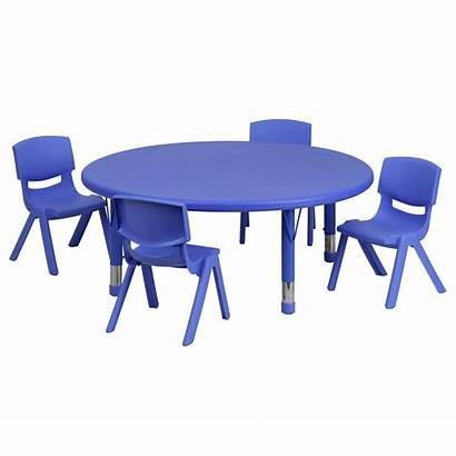Table Plastic Round Furniture Chairs Adjustable Activity